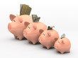 Four pink piggy banks showing profits and gains on white backgro