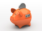 Orange piggy bank - counter on white background poster