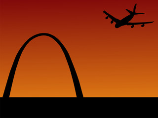 plane arriving in St louis with gateway arch