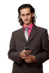 businessman with a mobile phone in hand. on white
