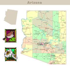 USA states series: Arizona. Political map