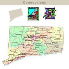 USA states series: Connecticut. Political map