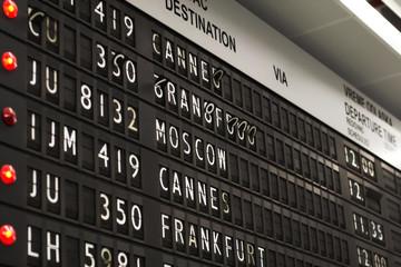 Flight info board on airport