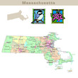USA states series: Massachusetts. Political map with counties