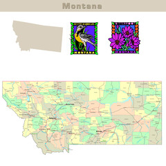 USA states series: Montana. Political map with counties