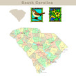 USA states series: South Carolina. Political map with counties