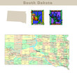 USA states series: South Dakota. Political map with counties