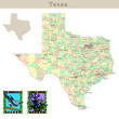 USA states series: Texas. Political map with counties