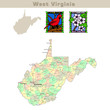 USA states series: West Virginia. Political map with counties