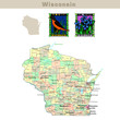 USA states series: Wisconsin. Political map with counties