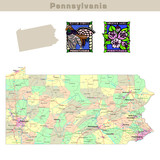 USA states series: Pennsylvania. Political map with counties