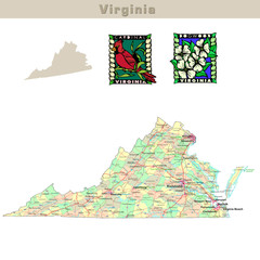 USA states series: Virginia. Political map with counties