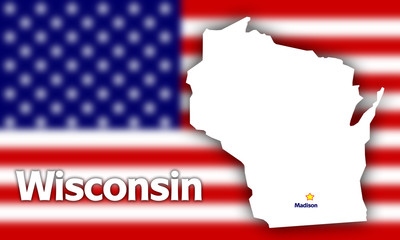 Wisconsin state contour against blurred USA flag