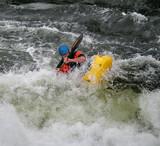 Man Paddling his Kayak on Whitewater Rapids poster