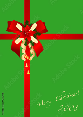 The image of a celebratory bow of a gift by christmas