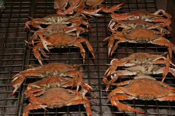 barbequed red crabs thai street gourment