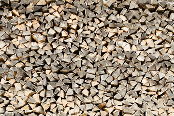 the woodpile of brich firewood