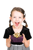 little girl excited to receive gift, isolated over white poster
