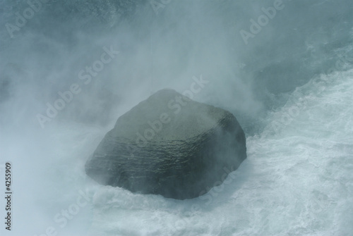 Rock in the mist at Niagara falls