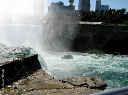 edge of Niagara Falls with views of Canada