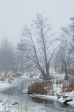 Misty cold morning by small partly frozen river poster
