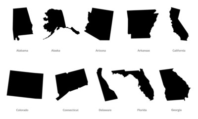 USA states contours set #1
