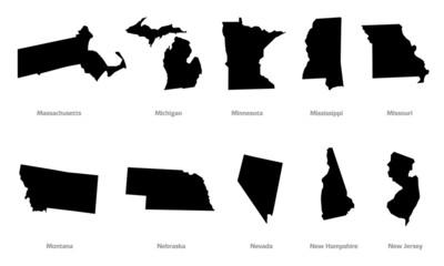 USA states contours set #3