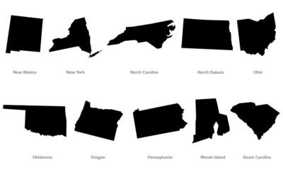 USA states contours set #4
