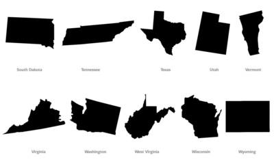 USA states contours set #5