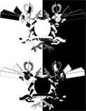 Funky samurai robot monochrome shield poster