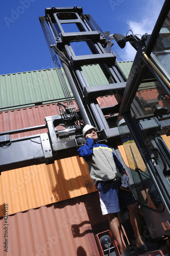 engineer, forklift and containers