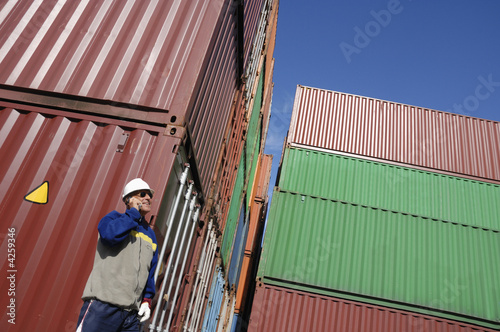 engineer inside container port