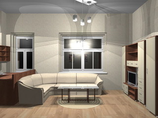 3d render of small room with furniture and the TV
