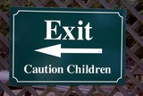 sign. exit. caution children. sign to save the children poster
