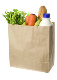 Paper bag full of groceries isolated on white background poster