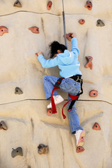 Rock Wall Climbing Girl