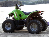 Small All Terrain Vehicle on coast of the river poster
