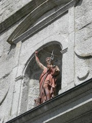 Facade de l'église de Megève -détail-