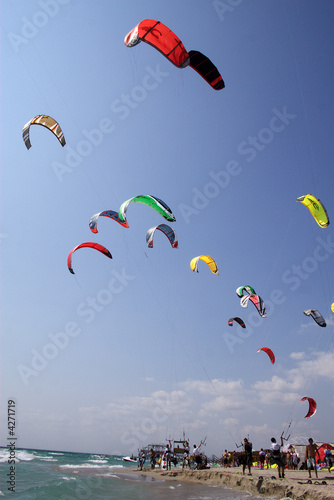 color kites on the sky