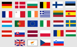 Flags of all twenty-seven member states of European Union poster