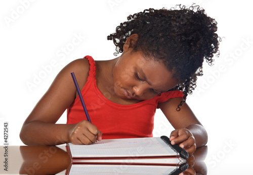 adorable girl studying
