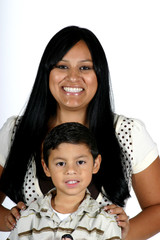 Attractive Hispanic woman with cute toddler boy