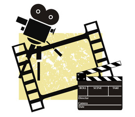 Clapboard with a camera and filmstrip