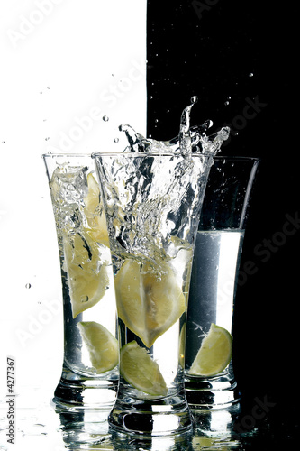 still life with water and lemon