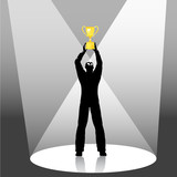 person holds trophy up in spotlight poster