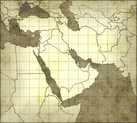 Illustration of ancient map of Middle east