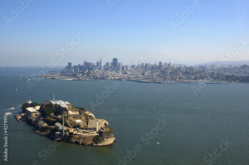 Aerial view of Alcatraz, Bay Bridge and San Francisco skyline