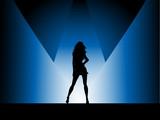 Sexy female in spotlight poster