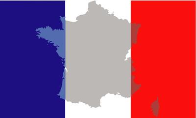 Fond de carte France devant drapeau