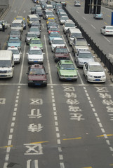 Traffic in downtown Shanghai